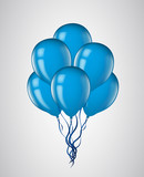 Blue balloons bunch with ribbon isolated. Vector illustration