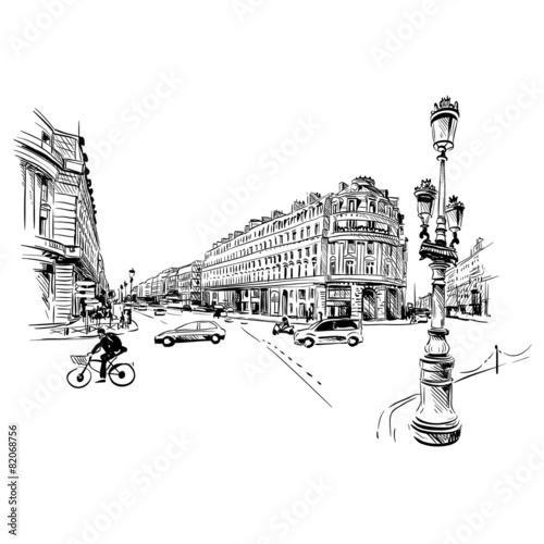 Fototapeta Paris street hand drawn, vector illustration
