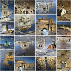 Florence art collage made of landmarks mirrored in the puddles