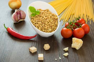 Zutaten vegetarische  Soja Bolognese