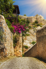 The old fortress in Alanya: paths around the fortress terrain.