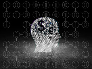 Finance concept: Head With Finance Symbol in grunge dark room