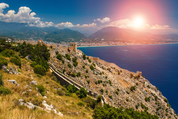 Beautiful panoramic view of Alanya castle at sunset.