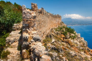 Beautiful panoramic view of Alanya castle.