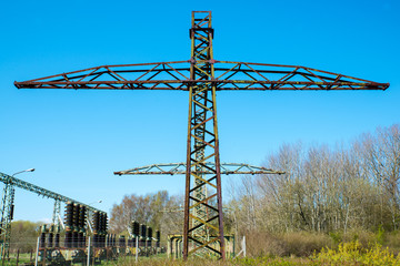 old high electricity pylons
