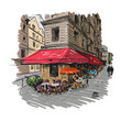 Paris outdoor cafe, vector illustration - 82071781