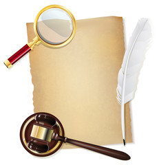 feather pen, old papirus, gavel and magnifying glass as justice