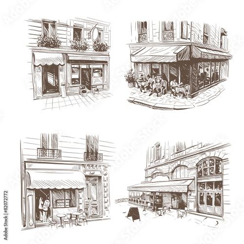 Fototapeta Paris outdoor cafe set, vector illustration