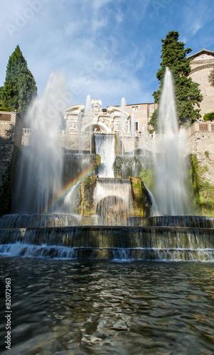 Leinwanddruck Bild Villa d'Este con arcobaleno