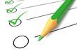 Leinwanddruck Bild - Checklist green pencil