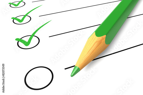 Leinwanddruck Bild Checklist green pencil