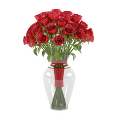 Flowerpot. A bouquet of red roses