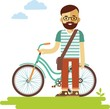 Young bicycle rider hipster man with bike in flat style - 82074191