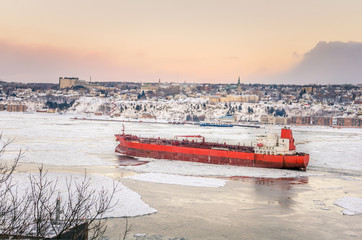 Freight Ship on Saint Lawrence River at Sunset