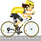 Young racing cyclist woman with bike in flat style