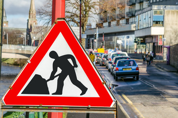 Roadworks Sign on a Street