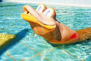 Snake toy in the pool for kids
