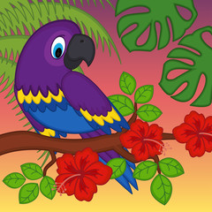 parrot on branch with flowers - vector illustration, eps