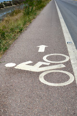 Bicycle path with a symbol of bike.