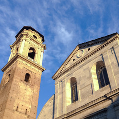 Turin cathedral and tower bell, holy shroud site, squared