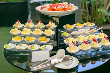 Luxury wedding dessert on reception