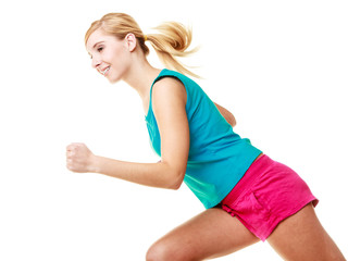 Fitness blonde girl running.