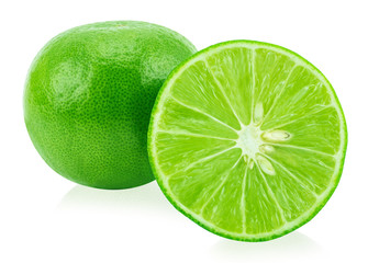 Limes with slice and leaves isolated on white background