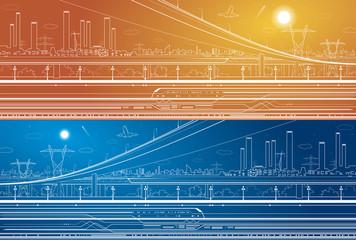 Industrial panorama, infrastructure, urban plot, train move