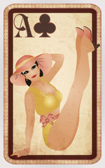Clubs poker cards pin up woman, vector illustration