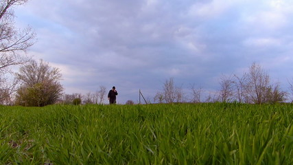Senior farmer checking wheat before spring rain.