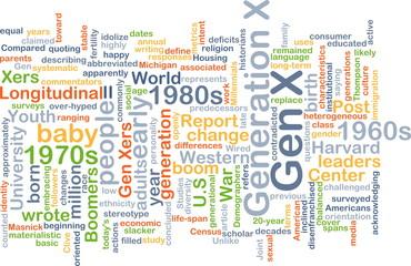 Gen X wordcloud concept illustration