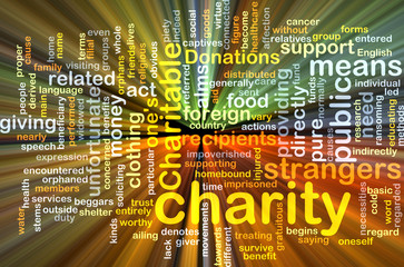 Charity wordcloud concept illustration glowing
