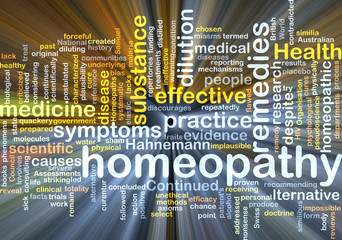 Homeopathy wordcloud concept illustration glowing