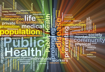Public Health wordcloud concept illustration glowing
