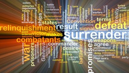 Surrender wordcloud concept illustration glowing