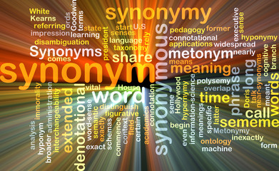Synonym wordcloud concept illustration glowing