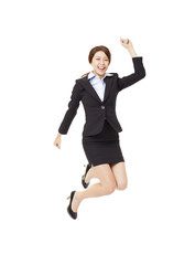 young business woman jumping