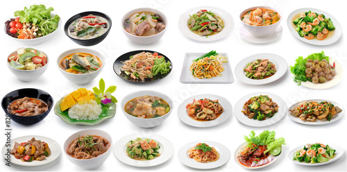 Staande foto Restaurant set of thai food on white background