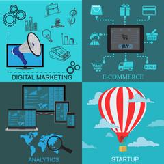 digital, marketing, srartup, analytics, e-commerce, flat, vector