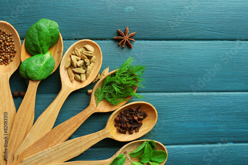 Fotobehang Kruiden 2 Wooden spoons with fresh herbs and spices