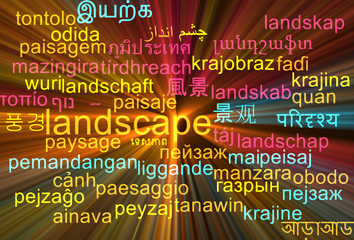 Landscape multilanguage wordcloud background concept glowing