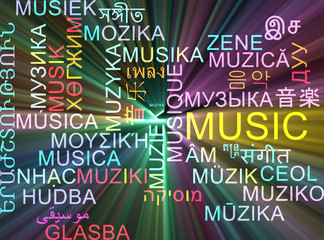 Music multilanguage wordcloud background concept glowing