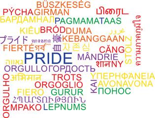 Pride multilanguage wordcloud background concept