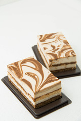tiramisu cake on a white background