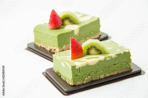 Fotobehang Bakkerij Matcha green tea cheesecake
