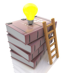 Stack of books with light bulb and ladder