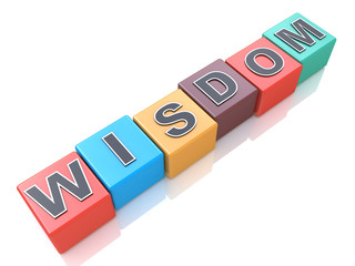 Concept of wisdom word on colorful cubes