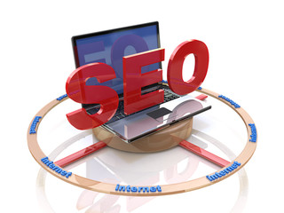 Laptop computer with SEO search engine optimization