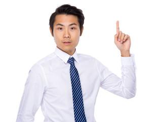 Businessman finger show up