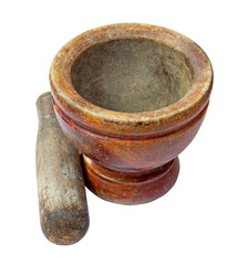 mortar and pestle set isolated on white background